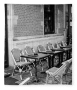 Brussels Cafe In Black And White Fleece Blanket