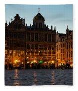 Brussels - Grand Place Facades Golden Glow Fleece Blanket