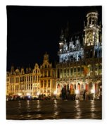 Brussels - The Magnificent Grand Place At Night Fleece Blanket