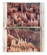 Bryce Canyon Utah View Through A White Rustic Window Frame Fleece Blanket