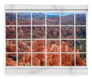 Bryce Canyon White Picture Window View Fleece Blanket