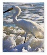 Bubbles Around Snowy Egret Fleece Blanket