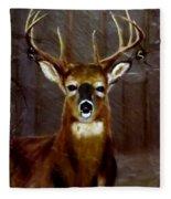 Buck On Slate  Fleece Blanket