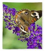 Buckeye Butterfly On Purple Flowers Fleece Blanket