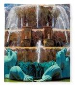 Buckingham Fountain Closeup Fleece Blanket