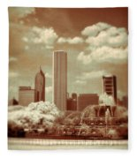 Buckingham Fountain In Chicago Fleece Blanket
