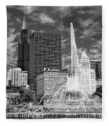 Buckingham Fountain Sears Tower Black And White Fleece Blanket