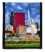 Buckingham Fountain Sears Tower Poster Fleece Blanket