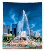 Buckingham Fountain Skyline Panorama Fleece Blanket