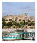 Buda Castle And Boats On Danube River Fleece Blanket