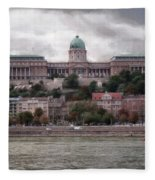 Buda Castle Facade Fleece Blanket
