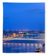 Budapest At Dusk Fleece Blanket