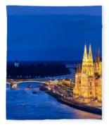 Budapest By Night Fleece Blanket