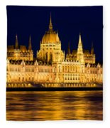 Budapest Parliament At Night Fleece Blanket