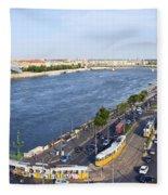 Budapest Street Traffic In Hungary Fleece Blanket