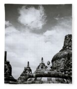 Buddha And Stupas Fleece Blanket