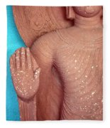 Buddha Carved Stone Statue With Halo Fleece Blanket