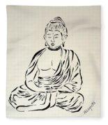 Buddha In Black And White Fleece Blanket