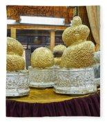 Buddha Figures With Thick Layer Of Gold Leaf In Phaung Daw U Pagoda Myanmar Fleece Blanket