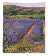 Buddleia And Lavender Field Montclus Fleece Blanket