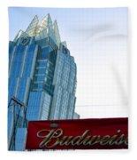 Budweiser And Building  Fleece Blanket