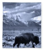 Buffalo And Mountain In Jackson Hole Fleece Blanket