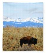 Buffalo And The Rocky Mountains Fleece Blanket