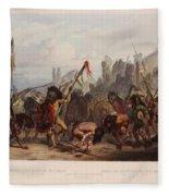 Buffalo Dance Of The Mandan Indians Fleece Blanket