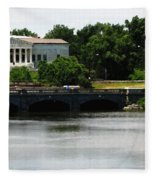 Buffalo History Museum And Delaware Park Hoyt Lake Oil Painting Effect. Fleece Blanket