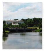 Buffalo History Museum And Delaware Park Hoyt Lake Oil Painting Effect Fleece Blanket