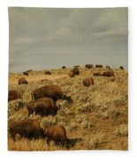Buffalo On The Prairie Fleece Blanket