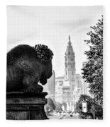 Buffalo Statue On The Parkway Fleece Blanket