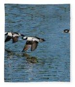 Bufflehead Duck Trio In Flight Fleece Blanket