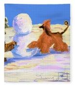Building A Snowman Fleece Blanket