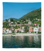 Building In A Town At The Waterfront Fleece Blanket