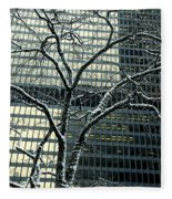Building Reflection And Tree Fleece Blanket