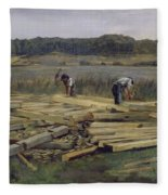 Building Site At Wesslingersee, 1876 Oil On Canvas Fleece Blanket