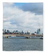 Buildings At The Waterfront, Thames Fleece Blanket