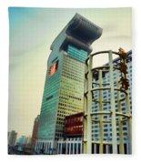 Buildings In Shanghai Fleece Blanket