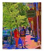 Buk And Nola Gift Shop Decor Boutique Rue Laurier Art Of Montreal Street Scene Carole Spandau Fleece Blanket