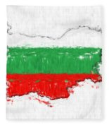 Bulgaria Painted Flag Map Fleece Blanket