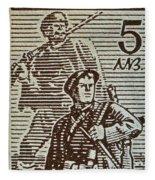 Bulgarian Soldier Stamp - Circa 1944 Fleece Blanket