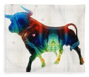 Bull Art - Love A Bull 2 - By Sharon Cummings Fleece Blanket