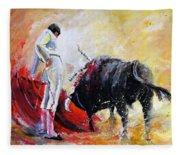 Bull In Yellow Light Fleece Blanket
