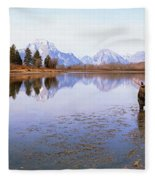 Bull Moose Grand Teton National Park Wy Fleece Blanket