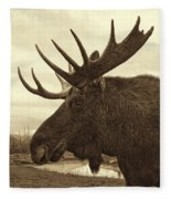 Bull Moose In Sepia Fleece Blanket