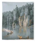Bullard Rock On The New River Fleece Blanket