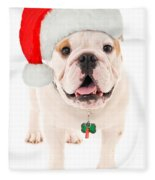 Bulldog Santa Fleece Blanket