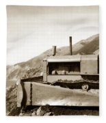 Bulldozer Working On Highway One Big Sur Circa 1930 Fleece Blanket