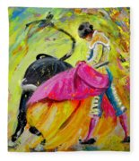 Bullfighting In Neon Light 01 Fleece Blanket